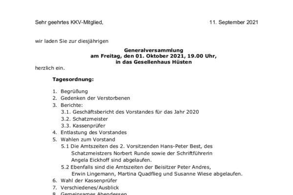 Web Einladung Generalversammlung 01.10.2021
